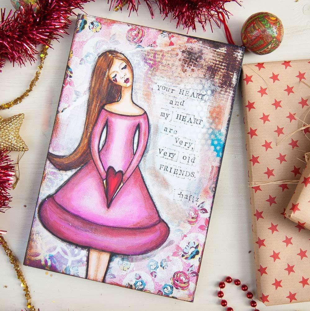 Best Friend Gift - Ready to Hang Art - Wall Art Print - Pink Wall Art - Friendship Gifts  https:// seethis.co/RQBBaR/  &nbsp;   #mixedmediaart #homedecor<br>http://pic.twitter.com/LU5a0sqGRS