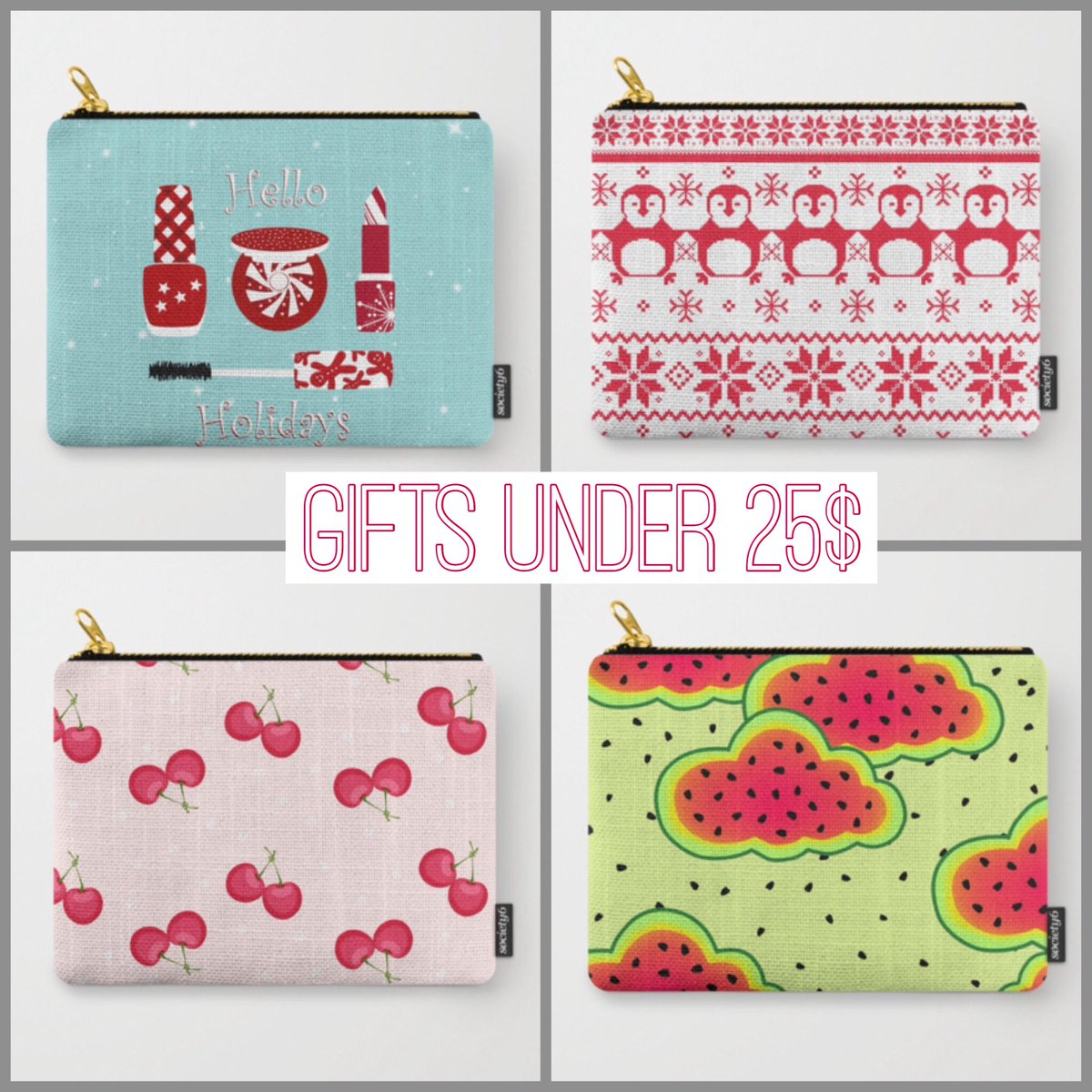 Ideas For Gifts under 25$ for my Society6 Store !!! Direct link in my bio for my stores @society6 #pouches #giftsideas #holidayseason #musthave #holidaygifts #holiday #christmas #christmasgifts #makeupbag #instaartist #instadesign @oursunnycdays<br>http://pic.twitter.com/j3YSl1pxic