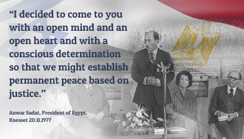 40 years ago, on November 19th, 1977, Egypt&#39;s President Sadat made a courageous step and came to Jerusalem, his speech at the @KnessetIL marked an important landmark in the long journey to #peace between #Israel &amp; #Egypt. #OTD<br>http://pic.twitter.com/JOjgDltBuZ
