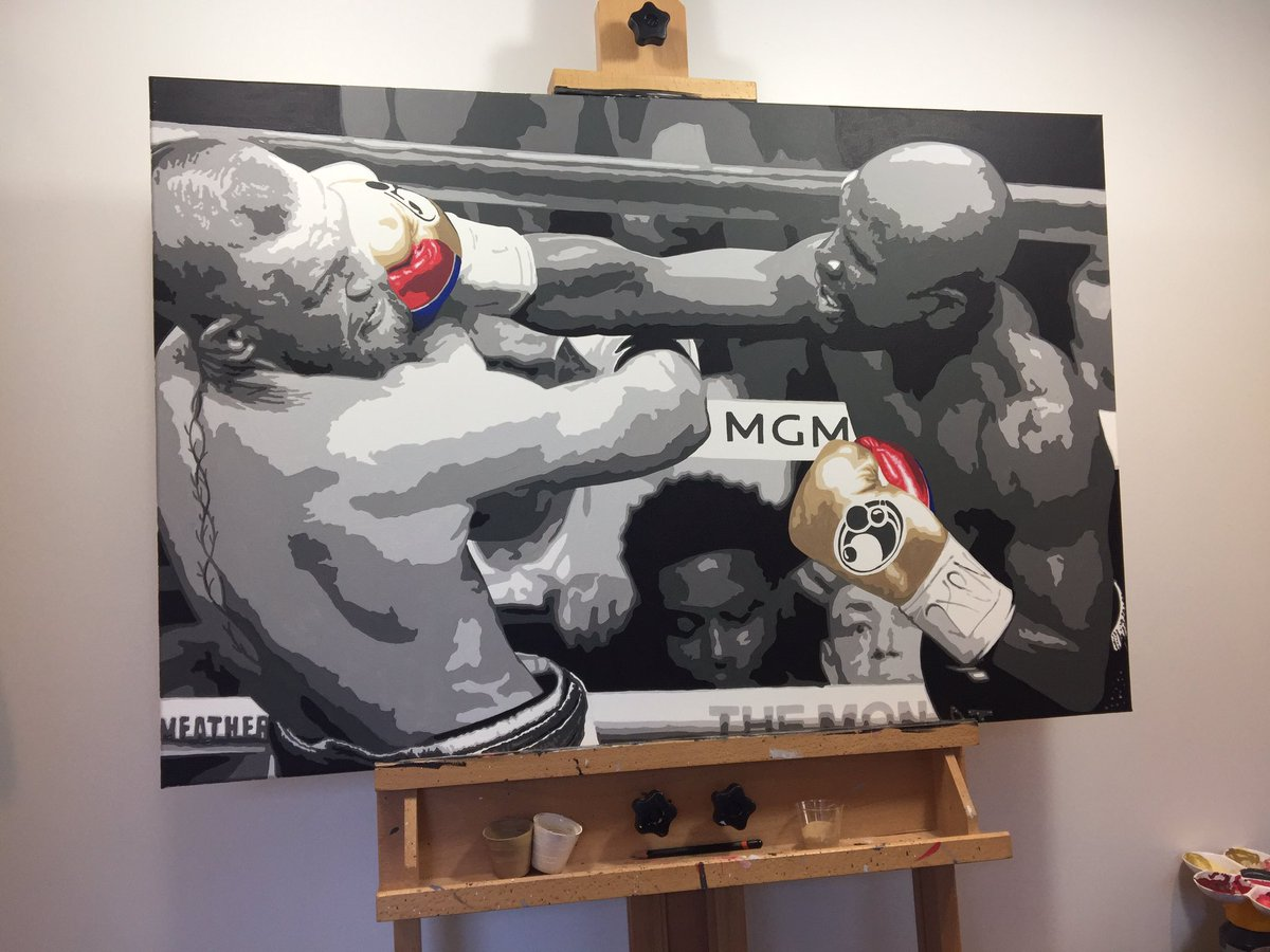 Another commission complete from the #Mayweather v #McGregor fight. Limited edition prints available soon. If you'd like to reserve one drop me a message.  A1 £65 A2 £45 A3 £35 3x2ft canvas £99 #ConorMcGregor #maymac #boxingpic.twitter.com/c5OFm25e8o