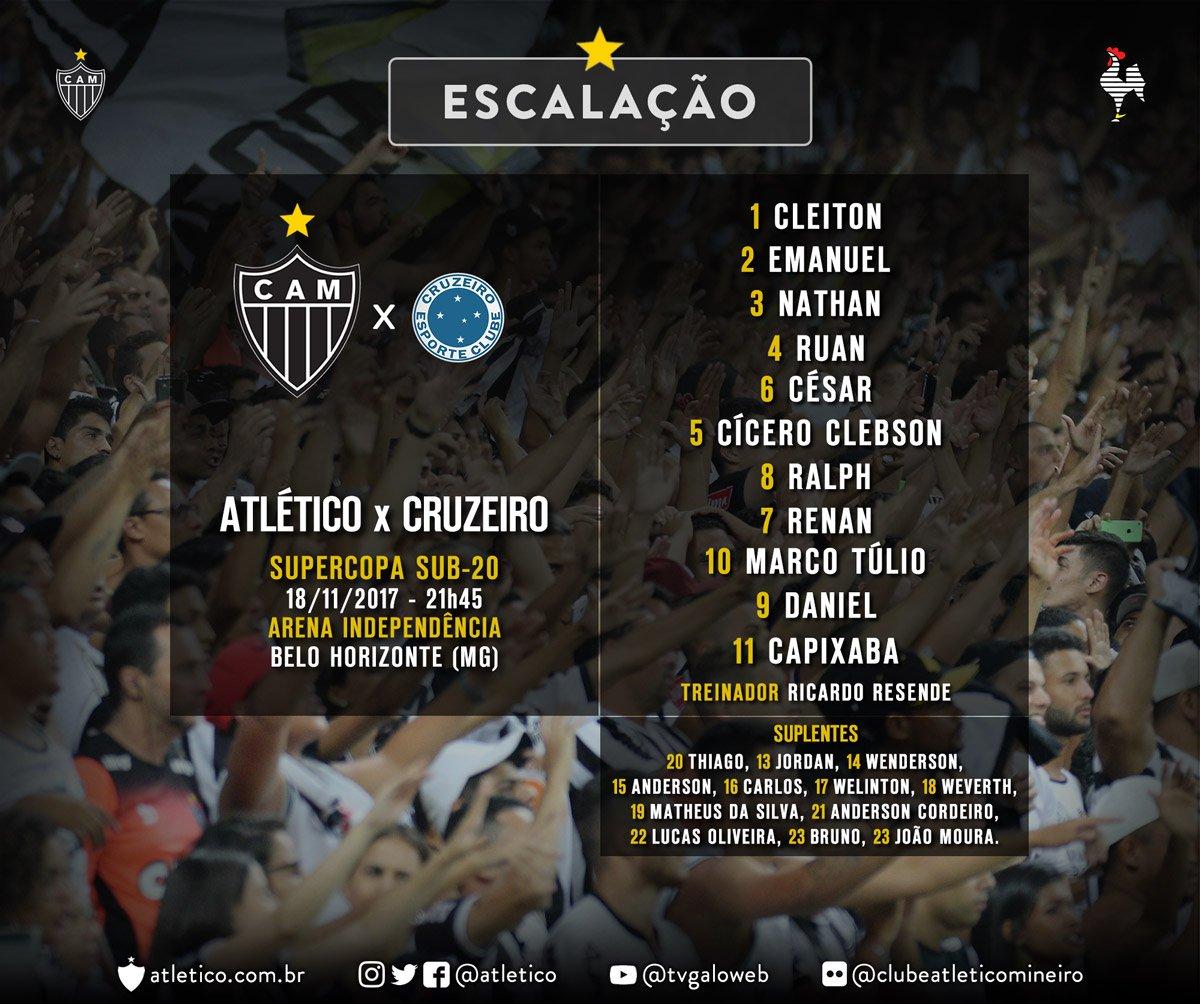 Logo mais, às 21h45, o time sub-20 do Atlético enfrenta o Cruzeiro, na Arena Independência, no jogo de ida da Supercopa da categoria. Confira a escalação do Galinho. Vamos, #Galo! #GaloClássicoClássico