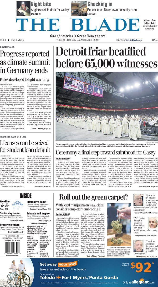 Tomorrow's news today: An early look at Sunday's front page of The Blade. #Toledo419 https://t.co/djOY64rjyu
