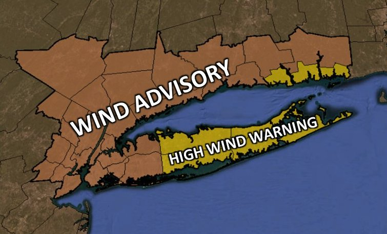 Wind Advisory in effect for NYC area, gusts up to 60 mph possible https://t.co/JcJPX0rP7O