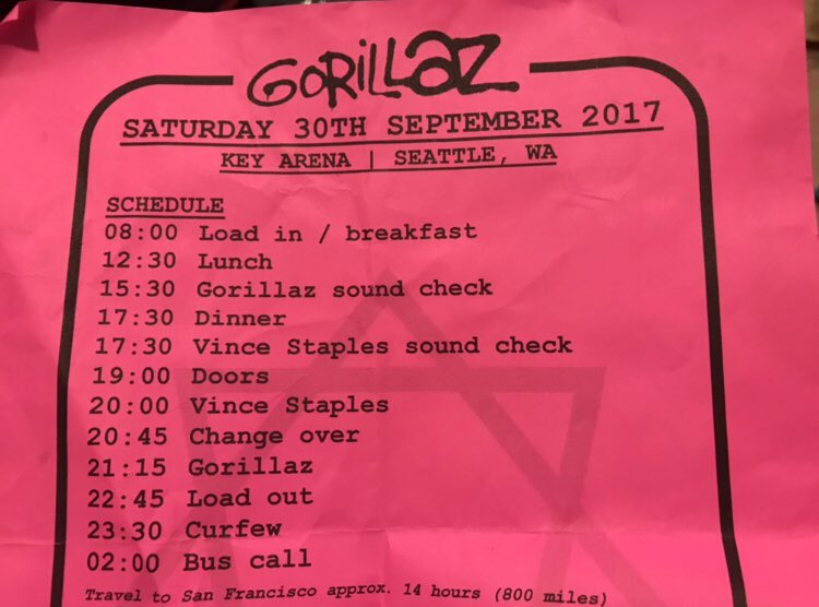 I got some SICK backstage #GORILLAZ papers from the HUMANZ TOUR (Seattle)  <br>http://pic.twitter.com/rNzhkLKuOl