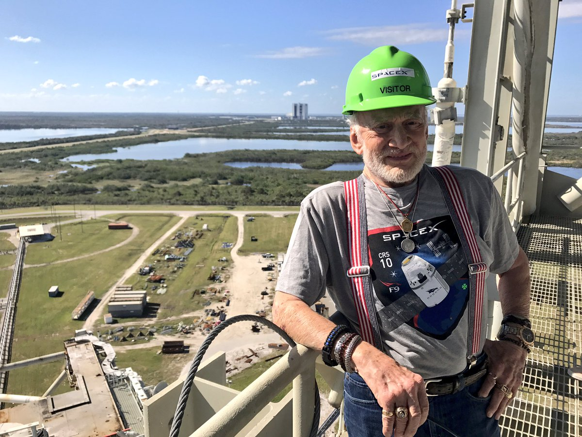 Good to get back up on the same level as the gantry of the launchpad where we lifted off of over 48 years ago on #Apollo11