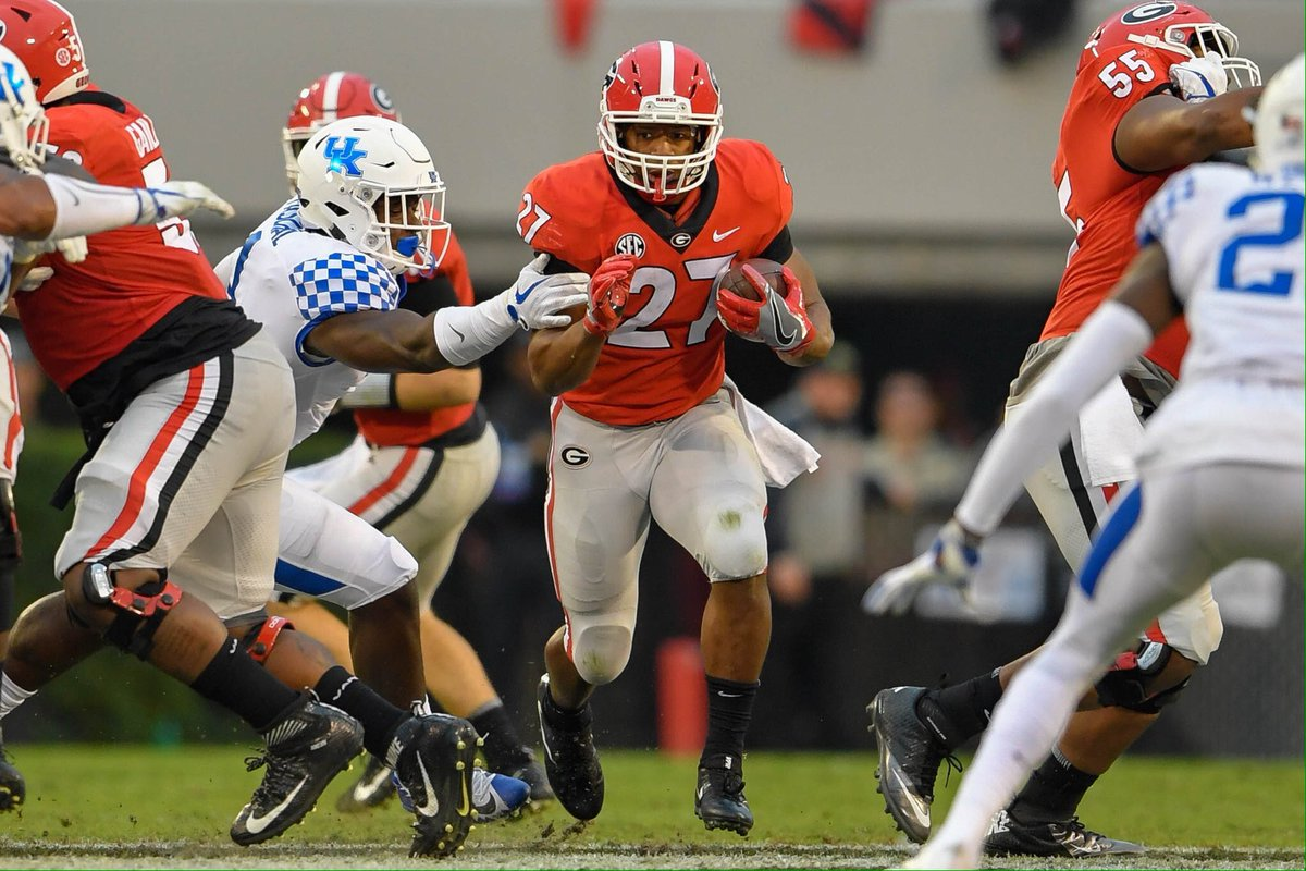 In his final game in Sanford Stadium, #UGA senior Nick Chubb rushed 15 times for 151 yards and 2 touchdowns. An NCAA all-time great! <br>http://pic.twitter.com/d035UGzhQo
