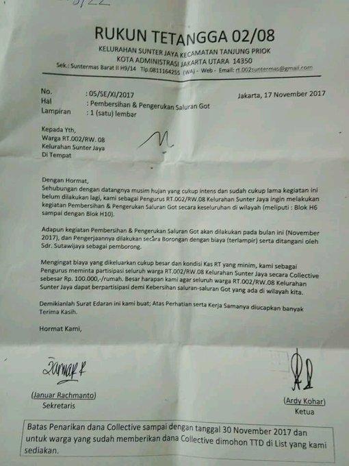 Beredar Surat Edaran Rt Di Sunter Yg Pungut Warga Rp100ribu