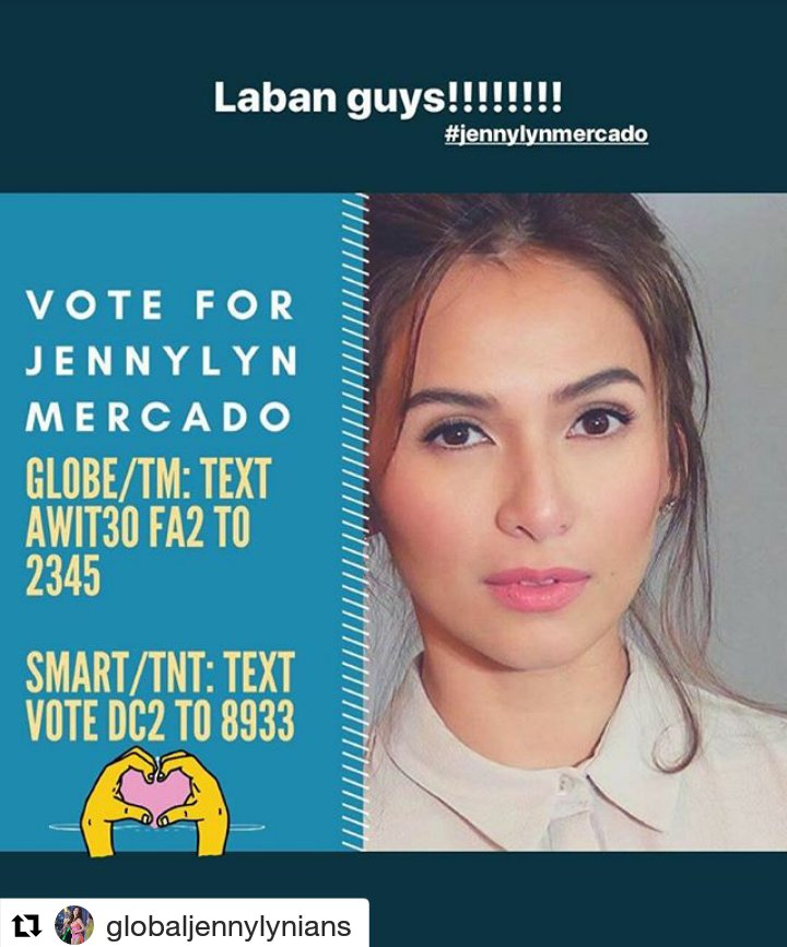 #Repost @globaljennylynians (@get_repost) ・・・ Fighting Team Jennylyn...We need your votes!<br>http://pic.twitter.com/Qpo0qzX1A6