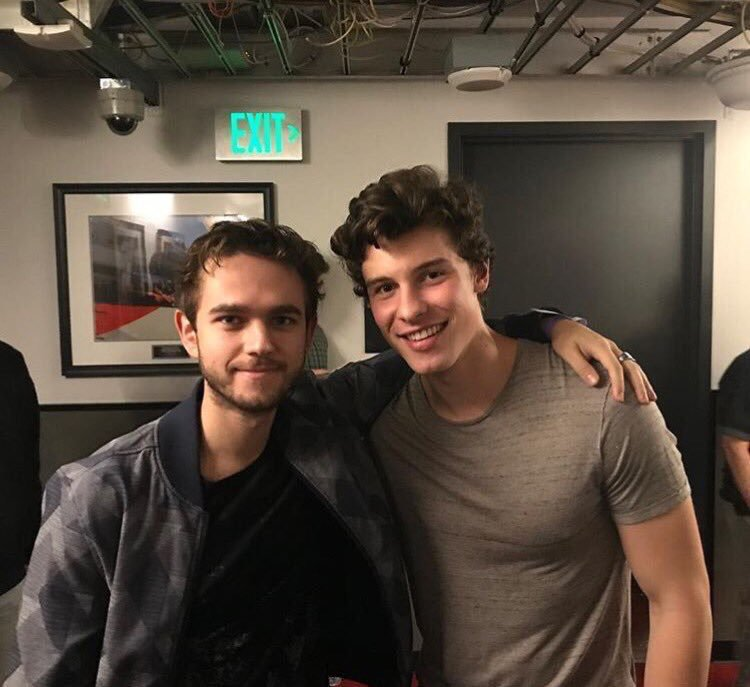 Shawn with Zedd yesterday backstage at A...