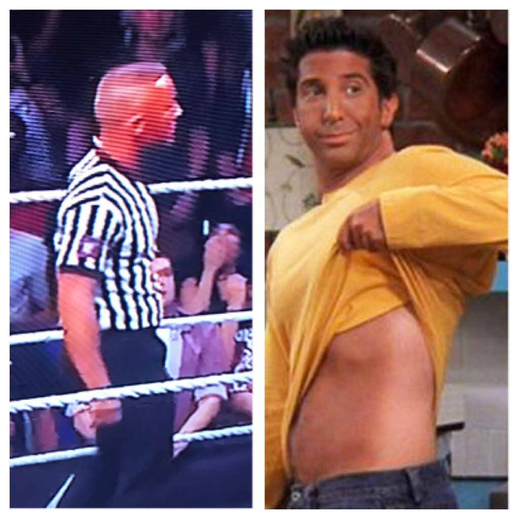 Looks like NXT refs get the Ross Geller spray tan treatment #NXTTakeOver #NXTTakeOverHouston #nxt #wwe #spraytan #referee <br>http://pic.twitter.com/0ARMZJ57fO