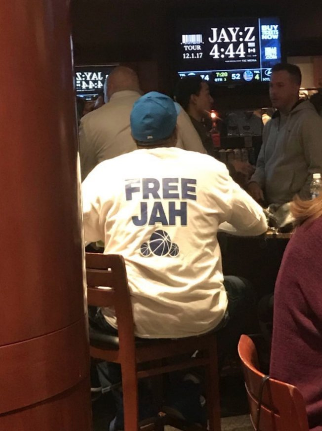 "Jahlil Okafor's dad wore a ""Free Jah"" shirt to the Sixers game https://t.co/zhXB64hhIM"
