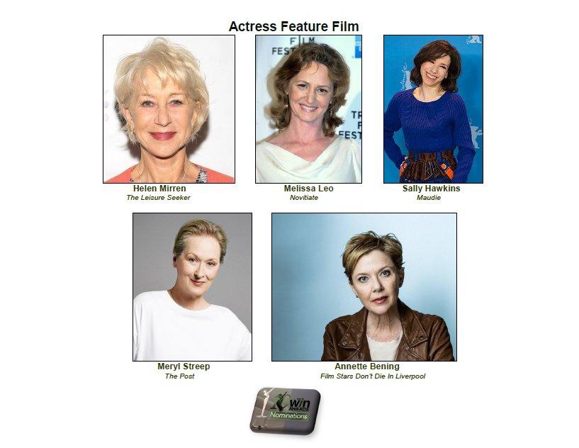 Congrats to the outstanding Actress in a Feature Film nominees: #AnnetteBening @MerylStreepPage @MerylStreepers #SallyHawkins @MelissaLeo @HelenMirrenLove #HelenMirren #MerylStreep <br>http://pic.twitter.com/FVQ0rNqmcC