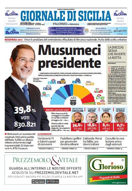 La #primapagina del Giornale di Sicilia oggi #inedicola . Accedi al giornale digitale https://t.co/TcxqY4CTrT #7novembre