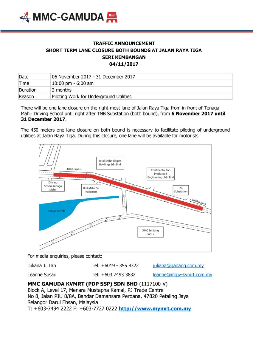Mass rapid transit on twitter closure of the right most lane at mass rapid transit on twitter closure of the right most lane at jalan raya tiga in front of tenaga mahir driving school 6112017 31122017 ccuart Images