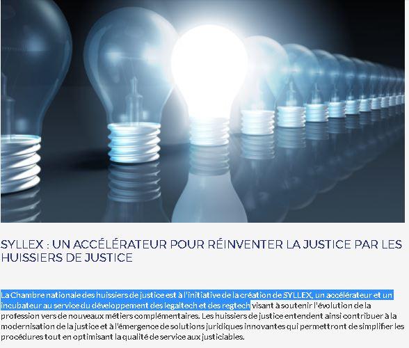 La Chambre des huissiers est à l'initiative de SYLLEX, un accélérateur & incubateur au service des legaltech/regtech https://t.co/JFTBDmMRtb