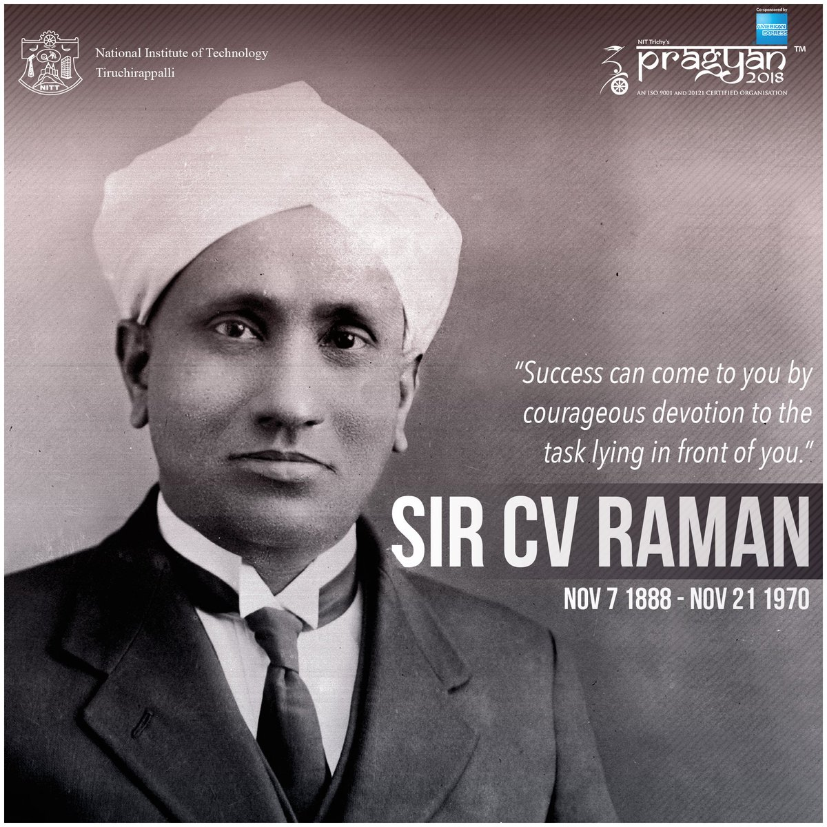 #Pragyan salutes #SirCVRaman on his 129th birthday, for his discoveries in #Physics shaped our world and ignited our scientific temper.<br>http://pic.twitter.com/XQyl6P5LVR