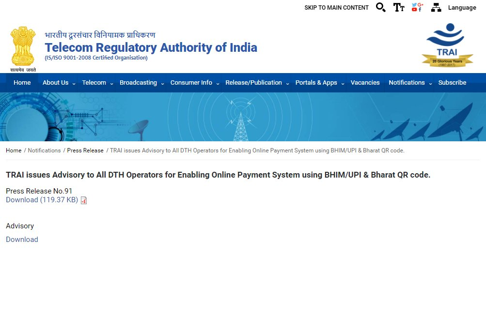 """trai on twitter: """"@trai issues advisory to all dth operators for ..."""