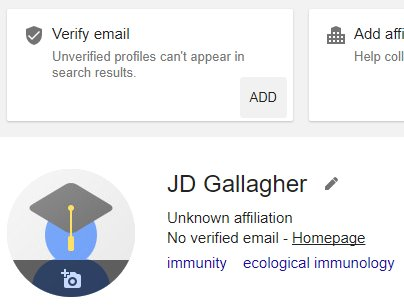 Having left academia, is there no way I can make my #GoogleScholar profile visible now that I can&#39;t verify it with an institution email? <br>http://pic.twitter.com/Q1q8jfbCc0