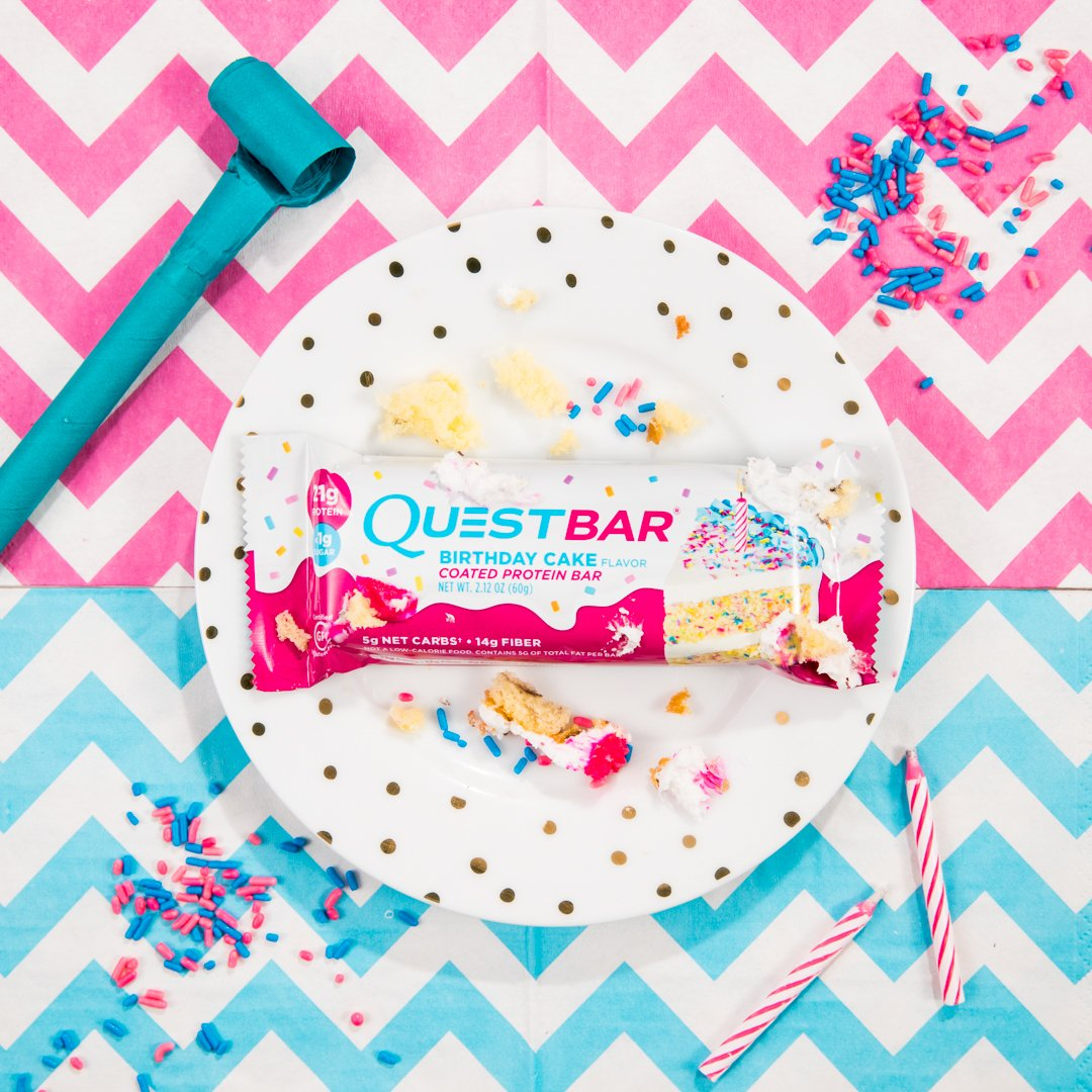 Quest Nutrition On Twitter RT To Welcome The Birthday Cake Bar Coated W A Sweet Frosting Complete Sprinkles 21g Protein 14g Fiber