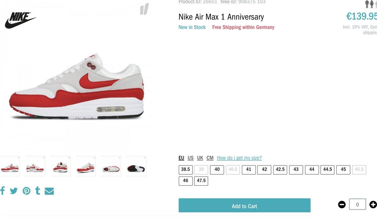 de20c0011e #RESTOCK Nike Air Max 1 OG Anniversary 'University Red' =>  http://tinyurl.com/ycncz2vd pic.twitter.com/OD8ENQy5ya
