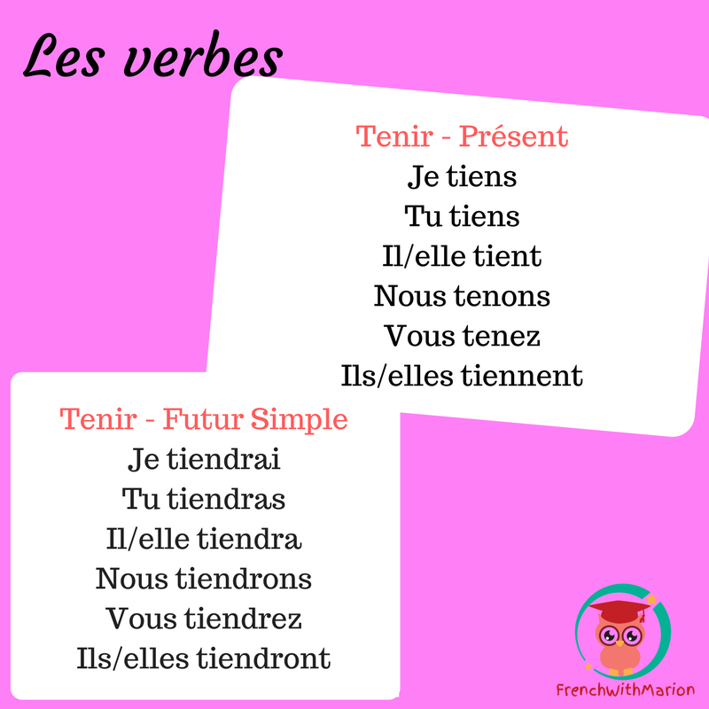 Frenchwithmarion On Twitter Le Verbe De La Semaine Tenir To Hold Conjugaison Verb Learnfrench