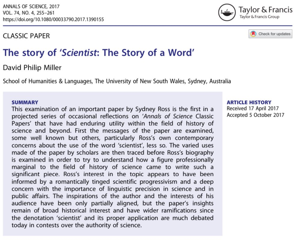 Sydney Ross&#39;s &#39;Scientist: The Story of a Word&#39; is our most read article. Read about its genesis:  http:// dx.doi.org/10.1080/000337 90.2017.1390155 &nbsp; …  #OA #HistSTM<br>http://pic.twitter.com/Rm8TqxylTy