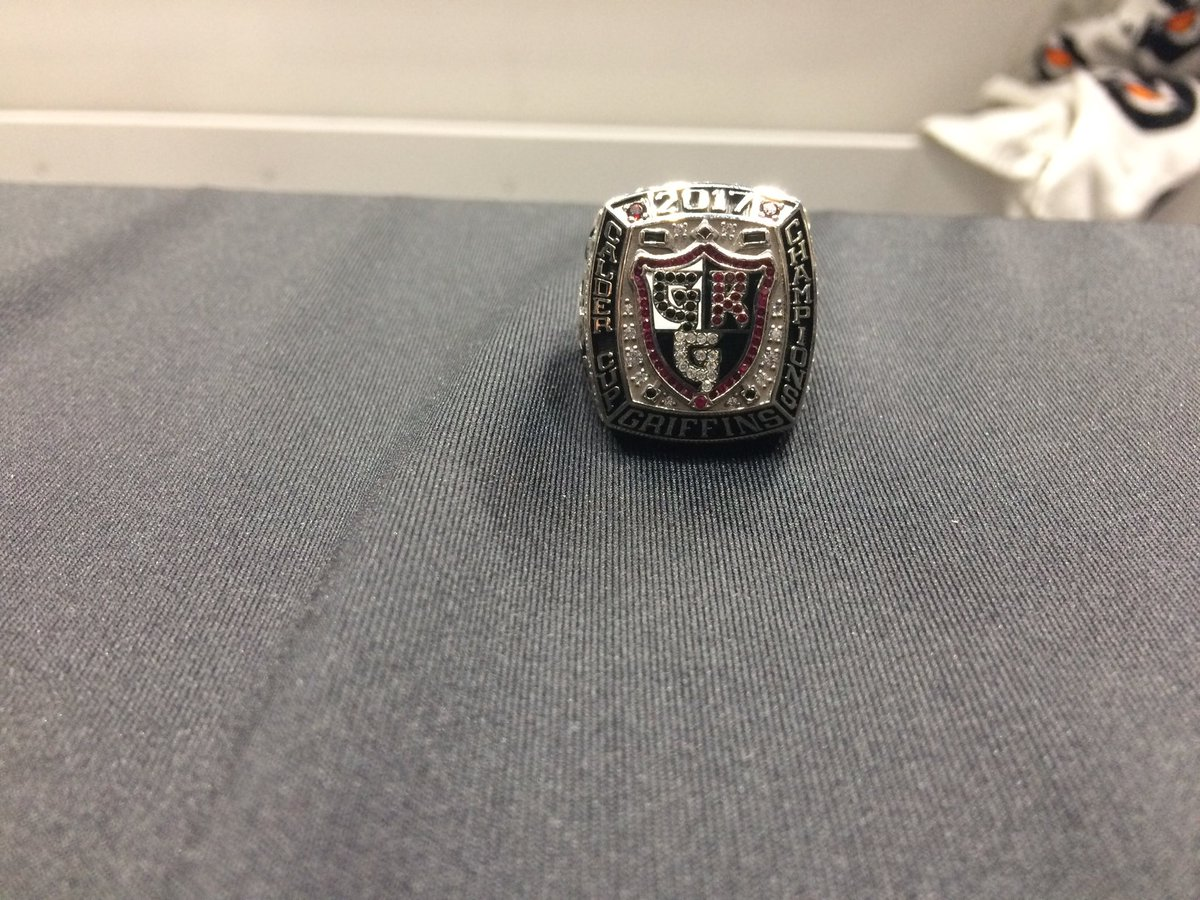 Looking good! @griffinshockey show off their #Calder Cup title rings. This is Matthew Ford's <br>http://pic.twitter.com/DSxNzPBWeP