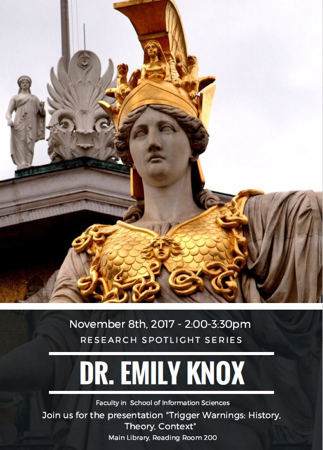 We are delighted to host Dr. Emily Knox tomorrow #researchspotlight  @iSchoolUI @IllinoisLibrary -  https://www. facebook.com/events/8630353 33878089 &nbsp; … <br>http://pic.twitter.com/msE5Hf9fNq
