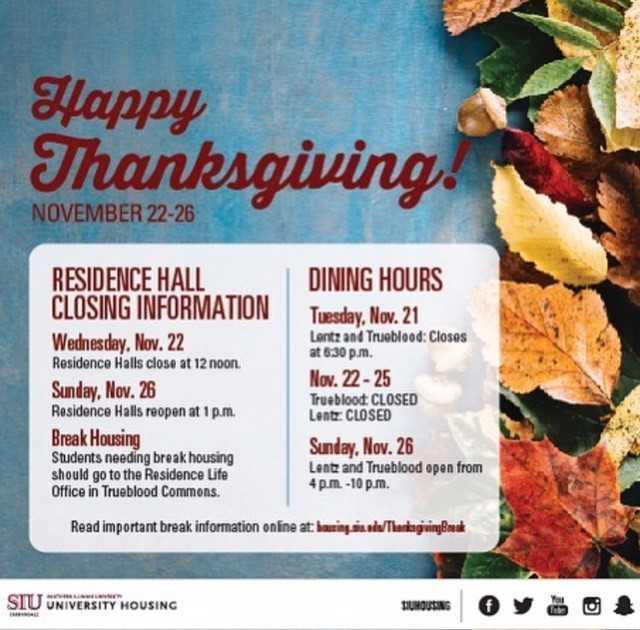 Siuc Calendar.Siuc On Twitter Hey Salukis Thanksgiving Break Begins On Nov