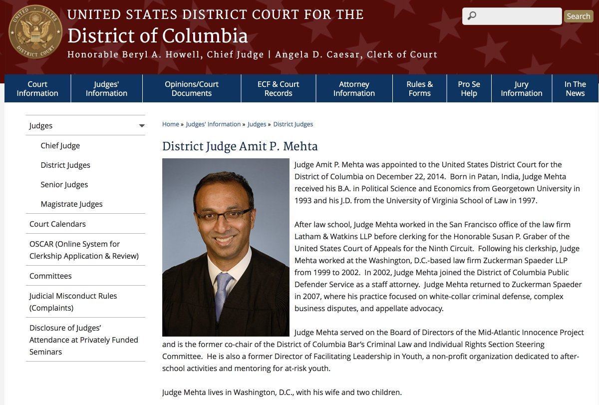 Image result for photos of judge, Amit P. Mehta of the United States District Court