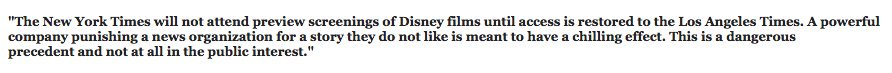 Statement from @nytimes about the @Disney / @latimes matter. An injury to one is an injury to all. https://t.co/MxMjkR4snZ