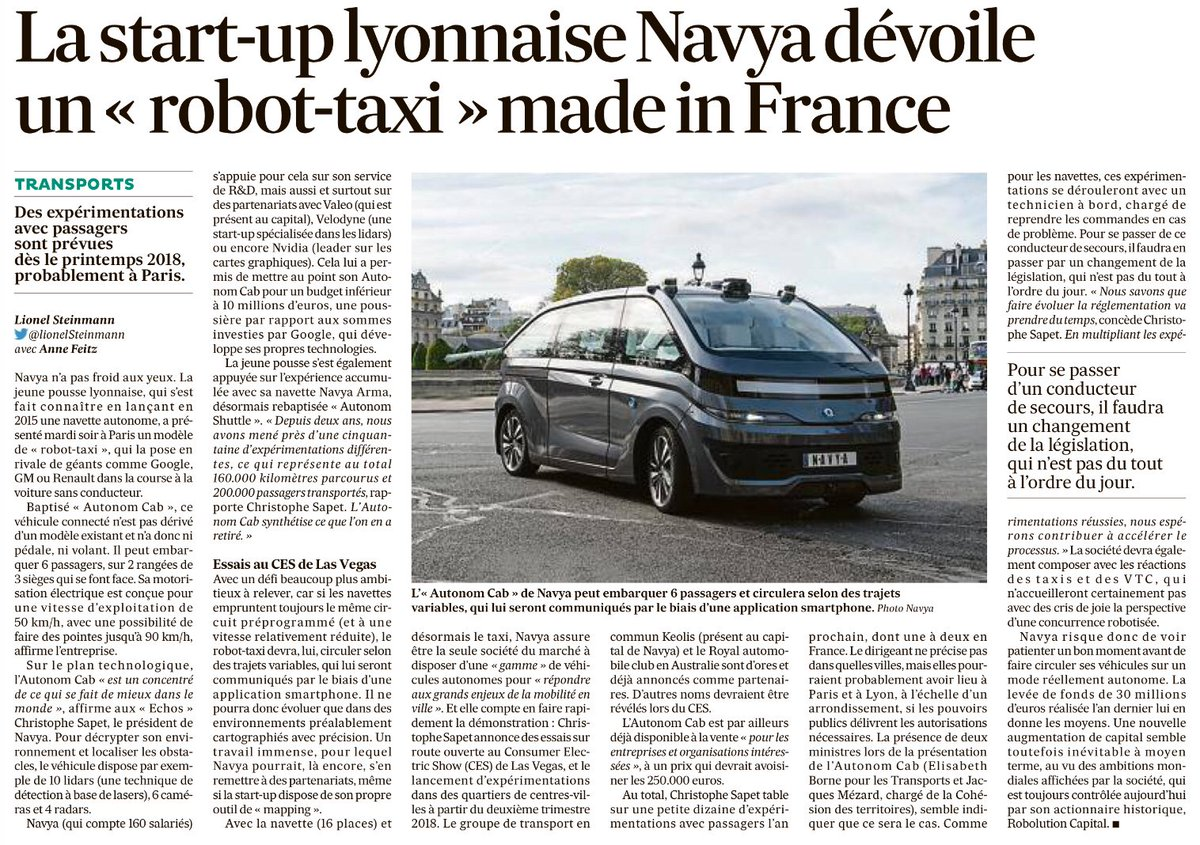 La #startup lyonnaise #Navya dévoile le premier robot-taxi made in France #innovation #technologie