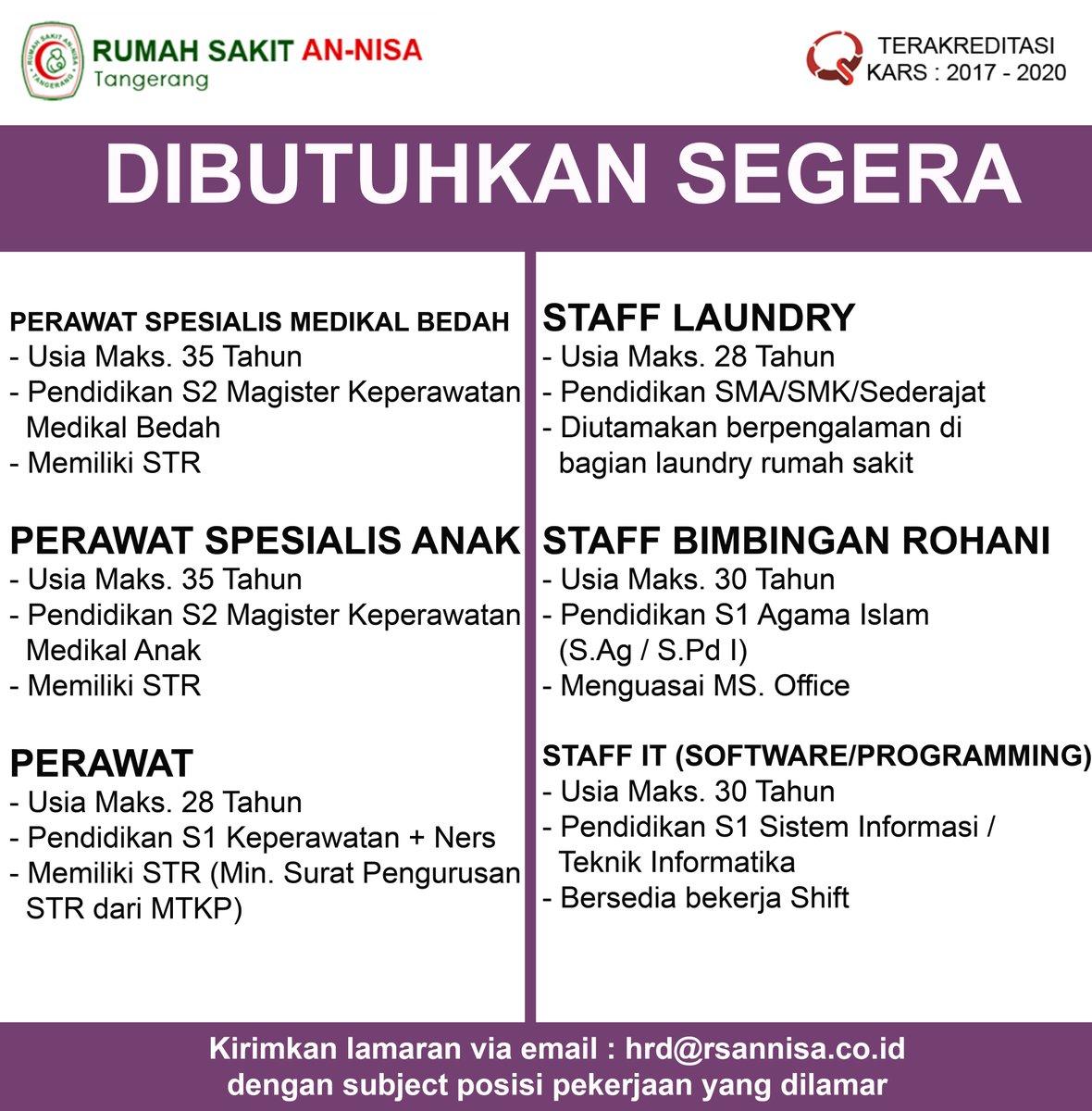 Rs Annisa Tangerang Auf Twitter Loker Lokerrumahsakit