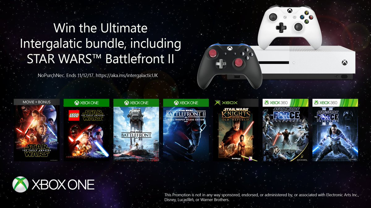RT to win the Ultimate Intergalactic Sweepstake grand prize! 🏆 #SWBFII  PLUS, you can win prizes every single day by visiting: https://www.xbox.com/en-gb/games/star-wars-battlefront-II#sweepstakes…