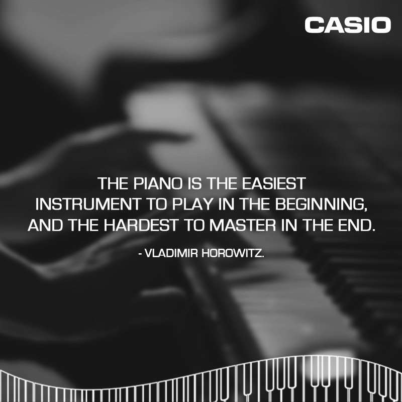 The piano is the easiest instrument to play in the beginning and the hardest to master in the end - Vladimir Horowitz. https://t.co/BFIps4tPVB