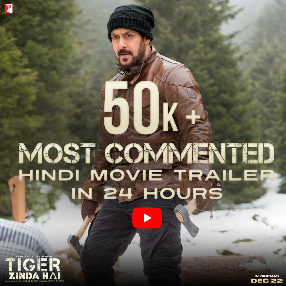 list of digital records smashed by tiger zinda hai as claimed by yrf