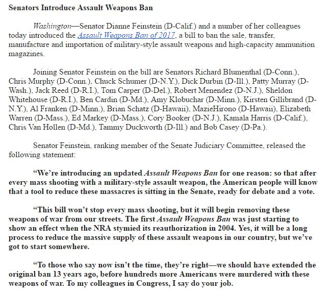 JUST IN: Sen. Feinstein and Senate Democrats introduce bill to ban assault weapons