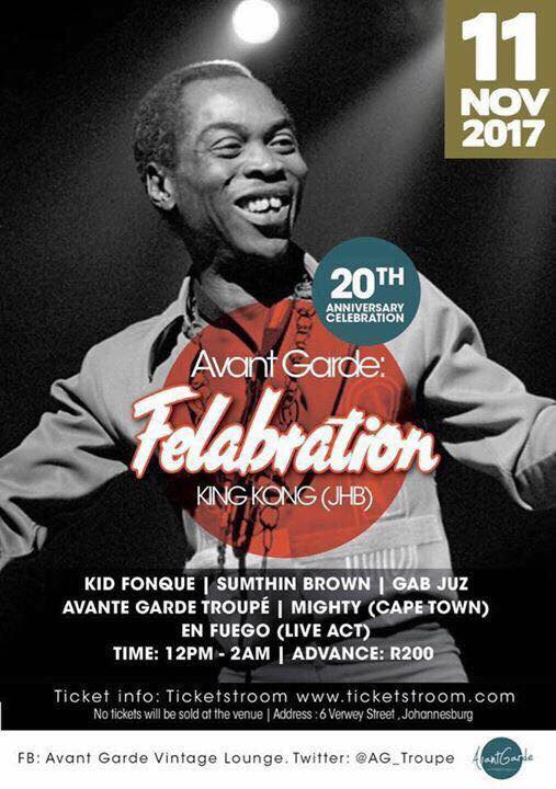 #Something4ThePeople #Felabration2017 #AvantGarde  @trevthejapanese @thabophalatse79 @AG_Troupe   ***Ticket &amp; Venue Details on the artwork***  SEE YOU THERE...!!!<br>http://pic.twitter.com/QSozvhEJ2O