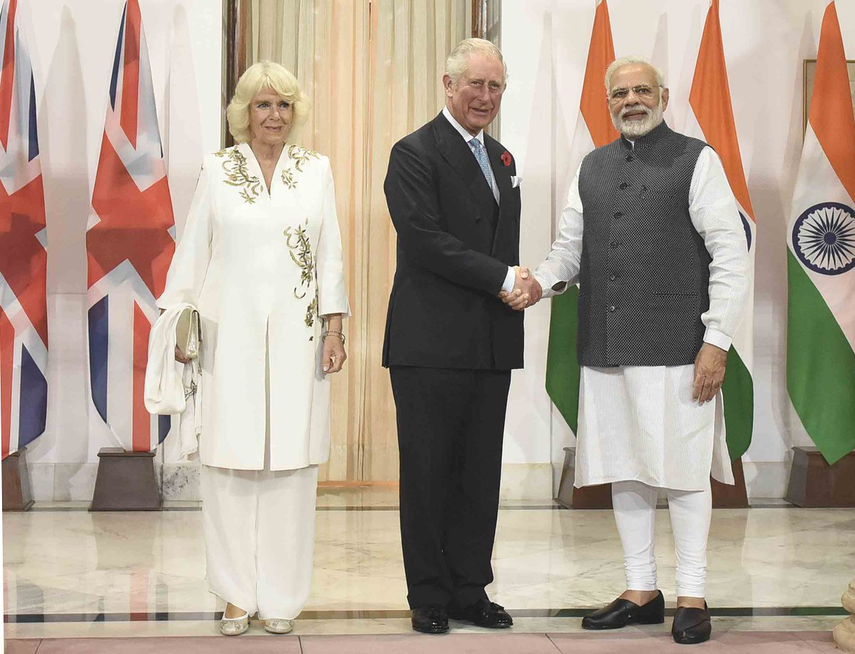 The Prince of Wales and The Duchess of Cornwall meet Prime Minister @narendramodi in New Delhi. @ClarenceHouse