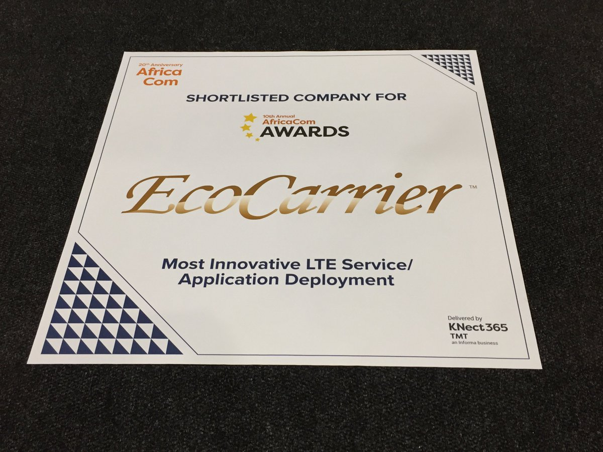 Ecocarrier Inc. amongst the shortlisted companies for 10th Annual #AfricaCom Awards for #MostInnovative #LTE Service / #ApplicationDeployment - #MRESENCE - Presence in #MIxedReality<br>http://pic.twitter.com/mBUSjfaSXl