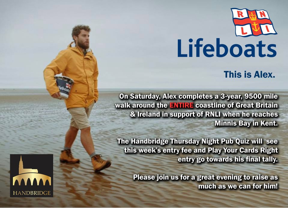 Thursday Night Pub Quiz in @TheHandbridge - Money raised will go to the efforts of @ELLISROSWELL for the @RNLI!  Check out his story on Twitter, come down, quiz it up, raise some cash, win a beer tab and have a great night!  Thursday Night 8:30pm - The Handbridge #Chester <br>http://pic.twitter.com/lWx05PsEbf