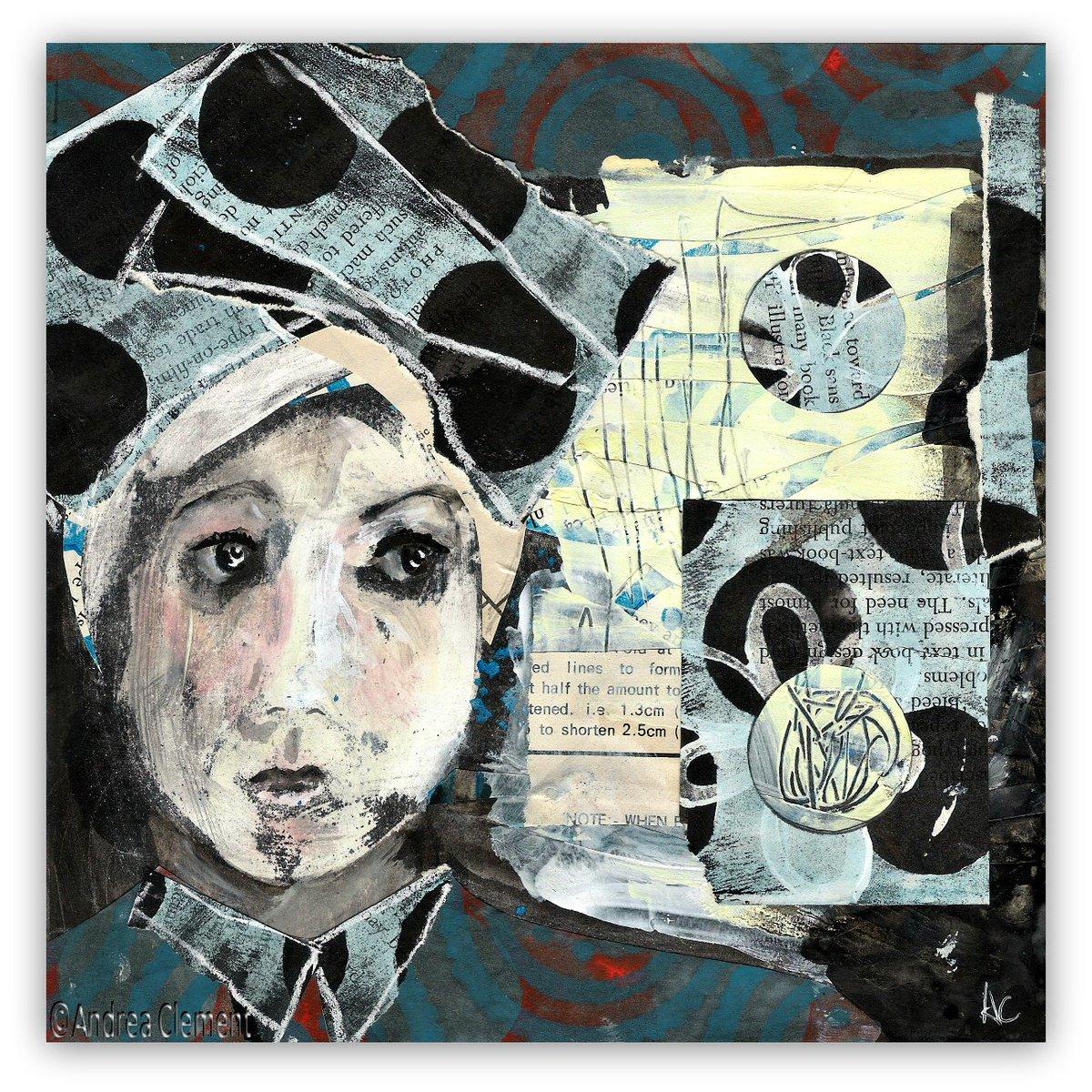 #portraitnovember a little mixed media piece #inkresist #collage #portrait #painting #mixedmediaart #headdress #spots #pattern<br>http://pic.twitter.com/gPT4jbhp9m