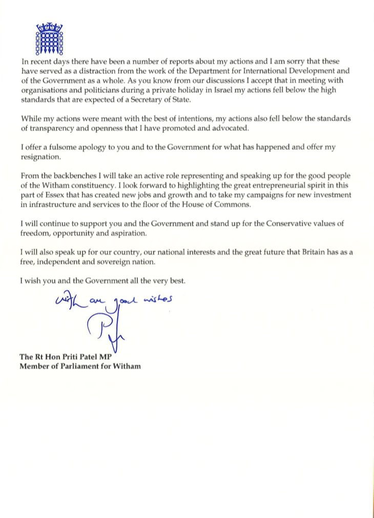 Bbc politics on twitter priti patels resignation letter 1123 am 8 nov 2017 expocarfo
