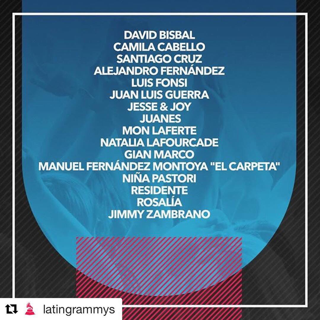 Gracias querid@s compañer@s, ansioso por compartir una noche tan importante con vosotros #LatinGRAMMY https://t.co/4WwEucwgRC