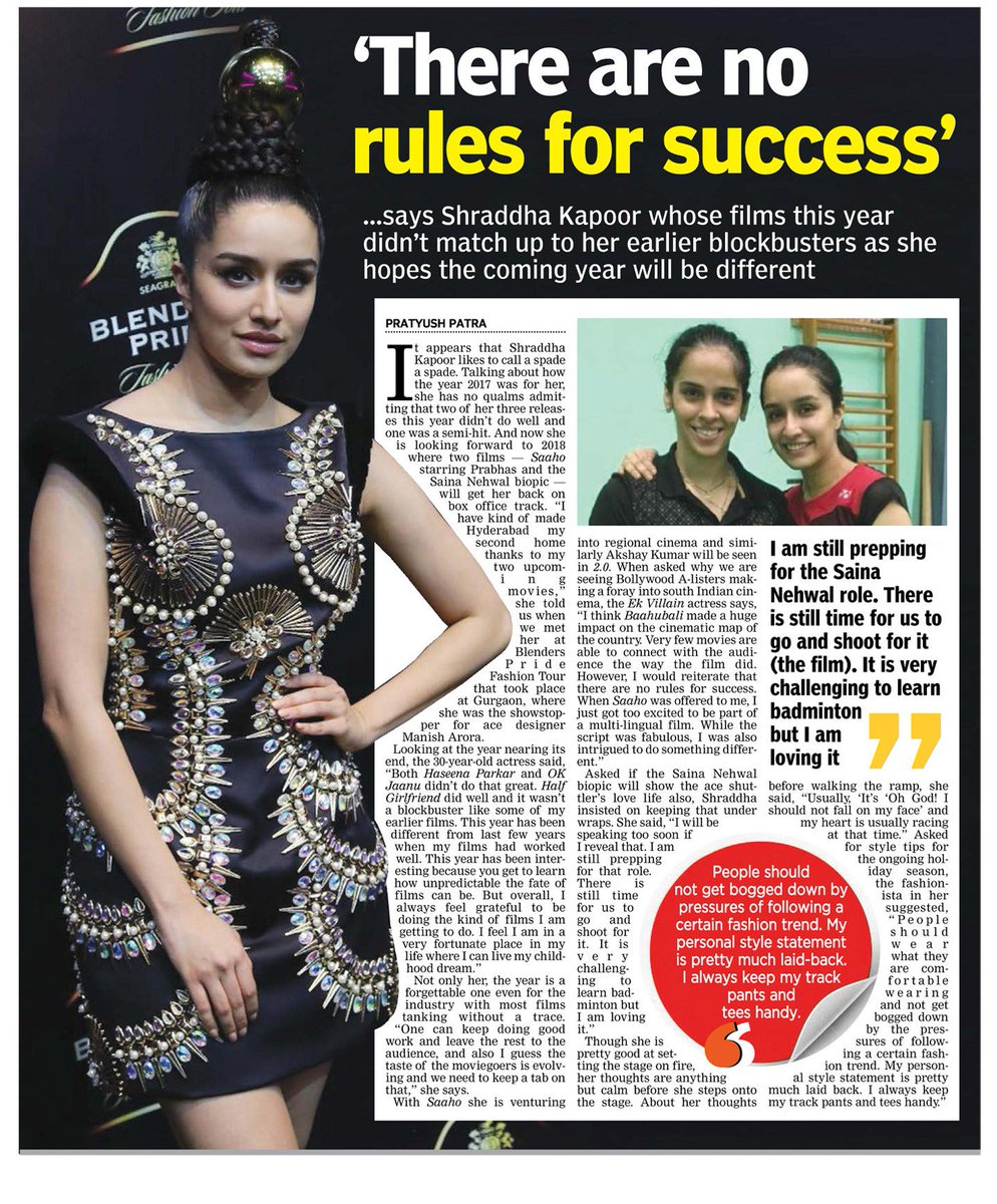 [SCAN]: There are no rules for success - @ShraddhaKapoor