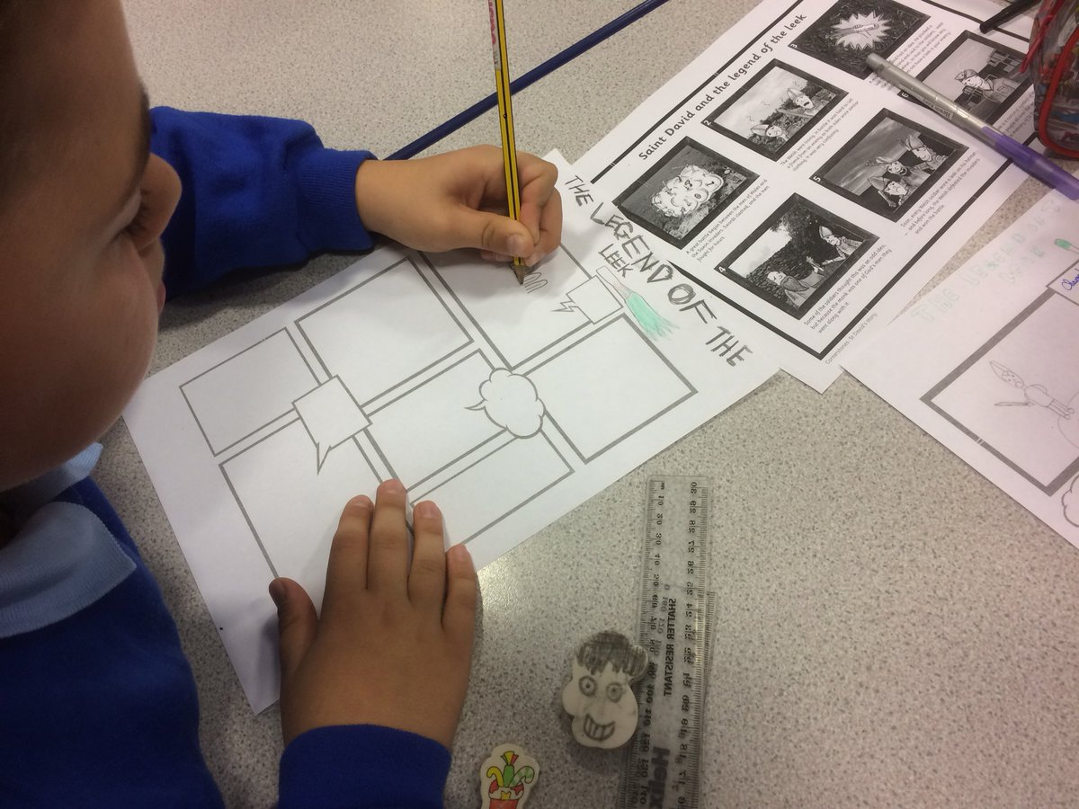 Creating comics depicting the life of St David and how we celebrate our national festival, the Eisteddfod. @erasmusplusUK #epluspeople <br>http://pic.twitter.com/OA03KUOyO4
