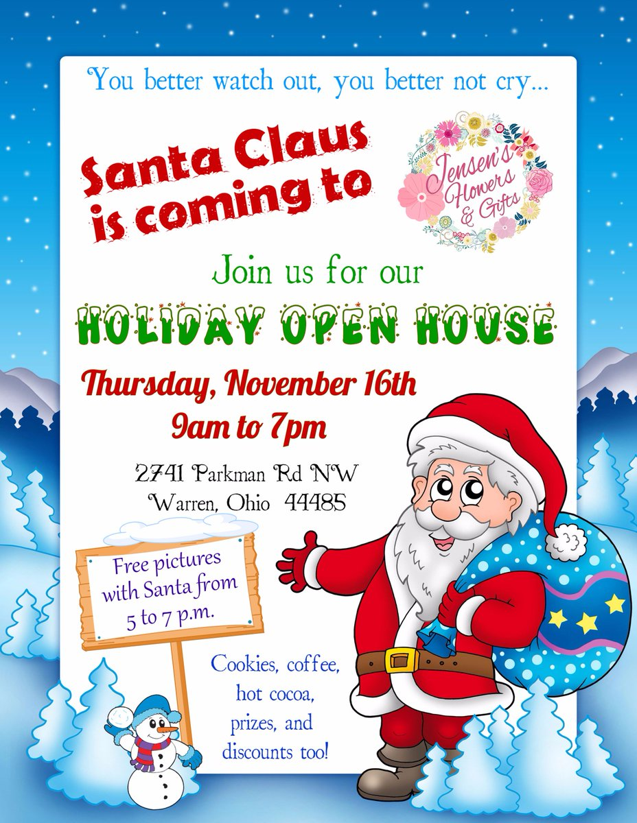 Santa Claus is coming to Jensen&#39;s!  Join us for our Holiday Open House! November 16th, 2017 from 9am to 7pm  #jensensflowersandgifts #shoplocal #christmas #festive #holiday #deckthehalls #winteriscoming #christmasstyling #dsfloral #flowers #handcrafted  #santa #santaclaus<br>http://pic.twitter.com/8zqDjFcDd6