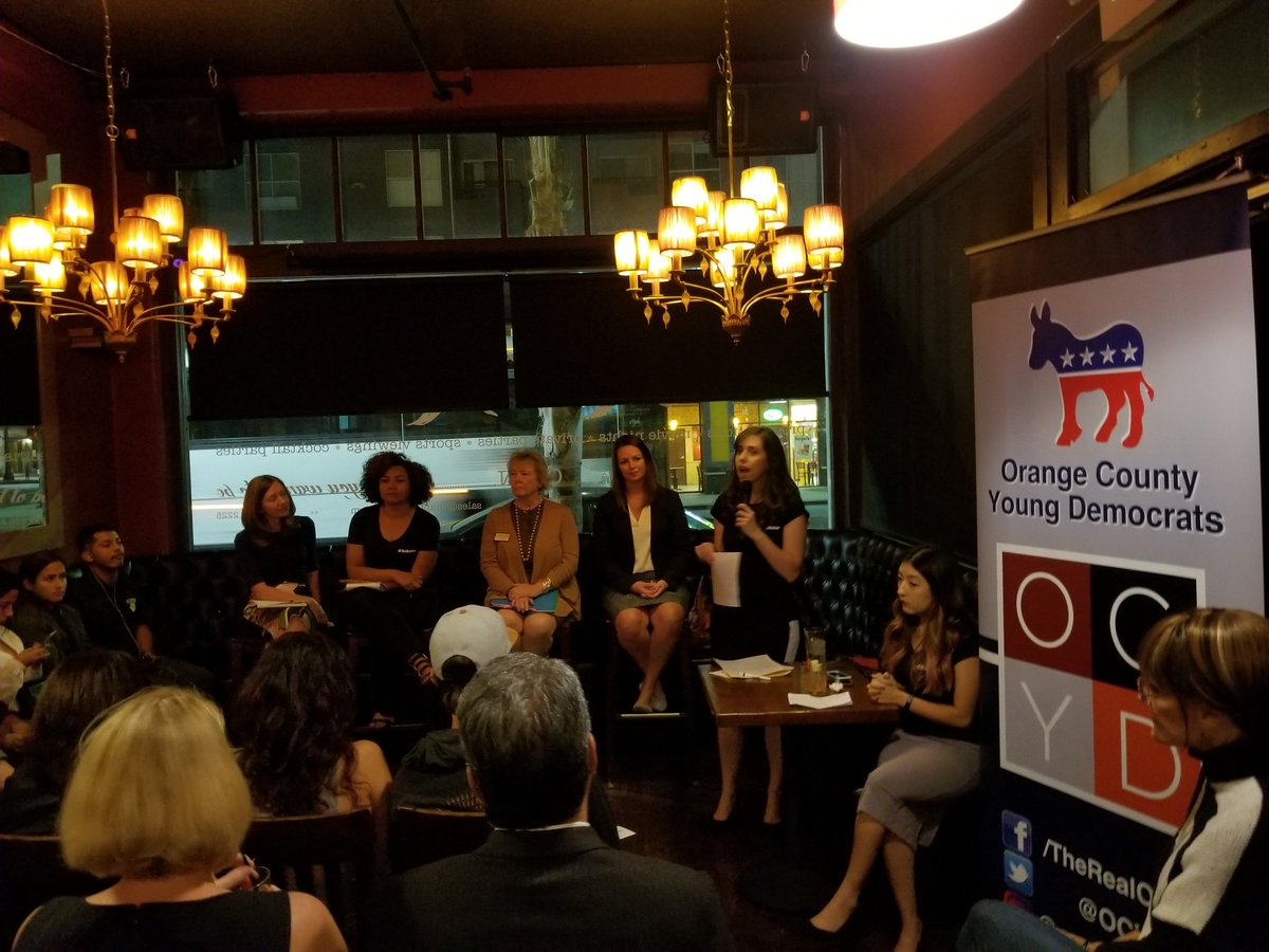 A panel discussion hosted by the Orange County Young Democrats about sexual harassment within politics. (Christine Mai-Duc / Los Angeles Times)