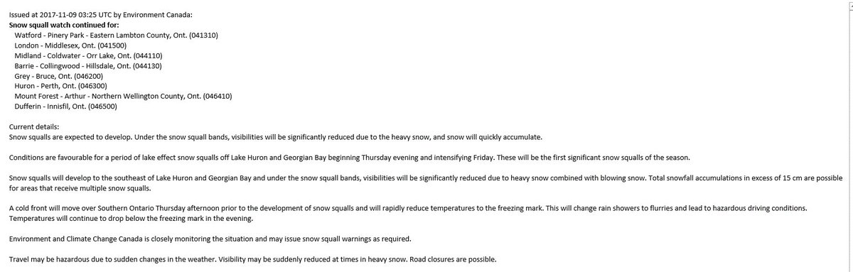 #SnowSquall watch continues for #Watford #PineryPark Eastern #Lambton #Ldnont #Middlesex #Midland #Huron #Perth and more. see attachment #ONStorm pic.twitter.com/pGi1FgIysr