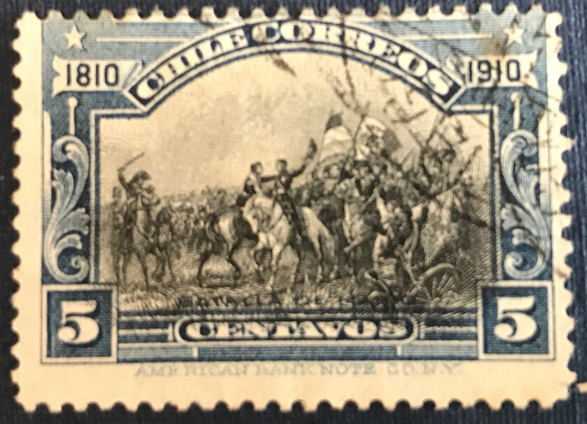 #Chili #stamp 1910 5c Blue battle of #Maipo or #Maipú set of centenary of independence <br>http://pic.twitter.com/bBmDiz66e9